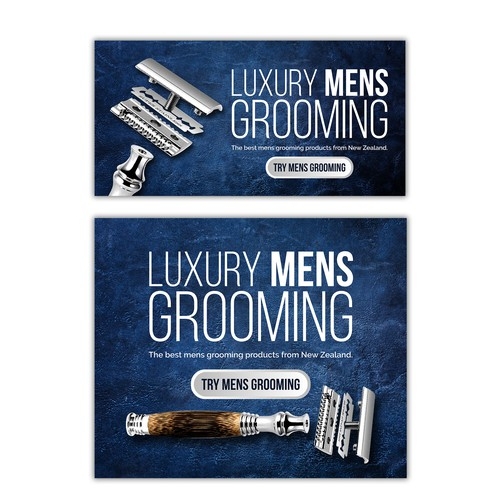 Banner for grooming products for men.