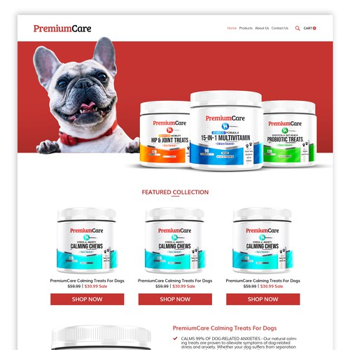 Pets product webpage