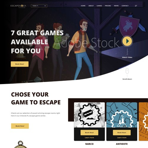 Redesign of a game escape room homepage