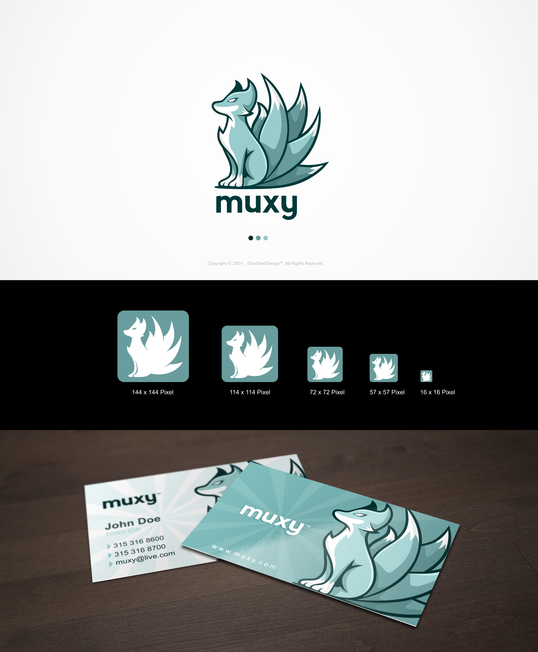 Muxy Logo and Character.