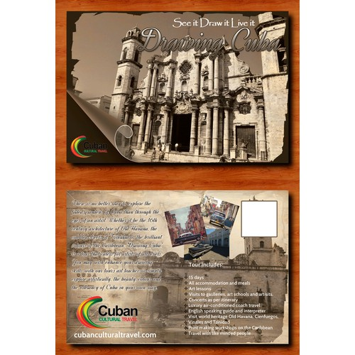 """Post Card for Cuabn Cultural travel """"Drawing Cuba"""" tour."""