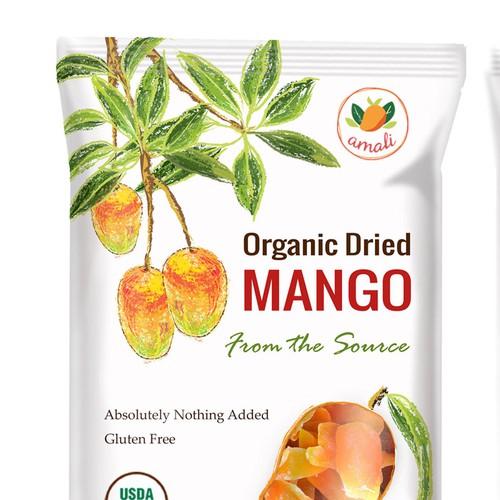 Hand drawn mango packaging