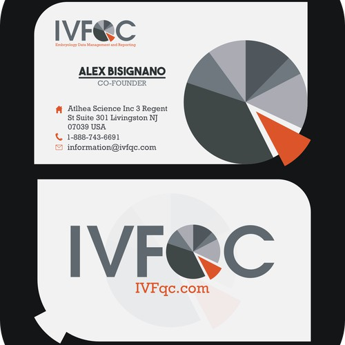 Create a clean, contemporary, business card for our app, IVFqc