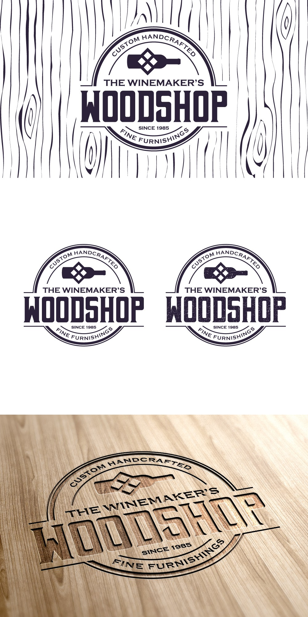 "Design a logo for a new business, ""The Winemaker's Wood Shop"""