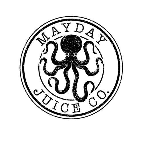 "Create a ""vintage"" type logo for the new E-Juice company, Mayday Juice Co."