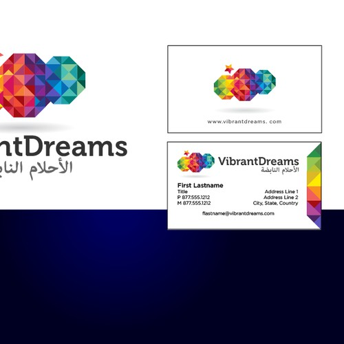 Create the next logo and business card for Vibrant Dreams
