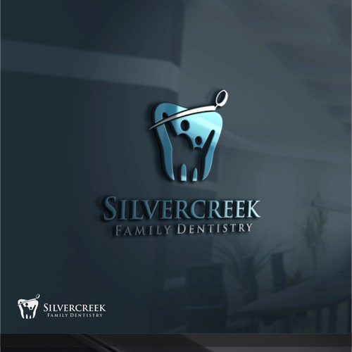 Create a family friendly dental office logo that would represent a Silvercreek.