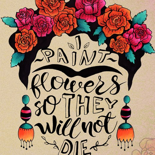 Frida Kahlo hand-drawn illustration and lettering