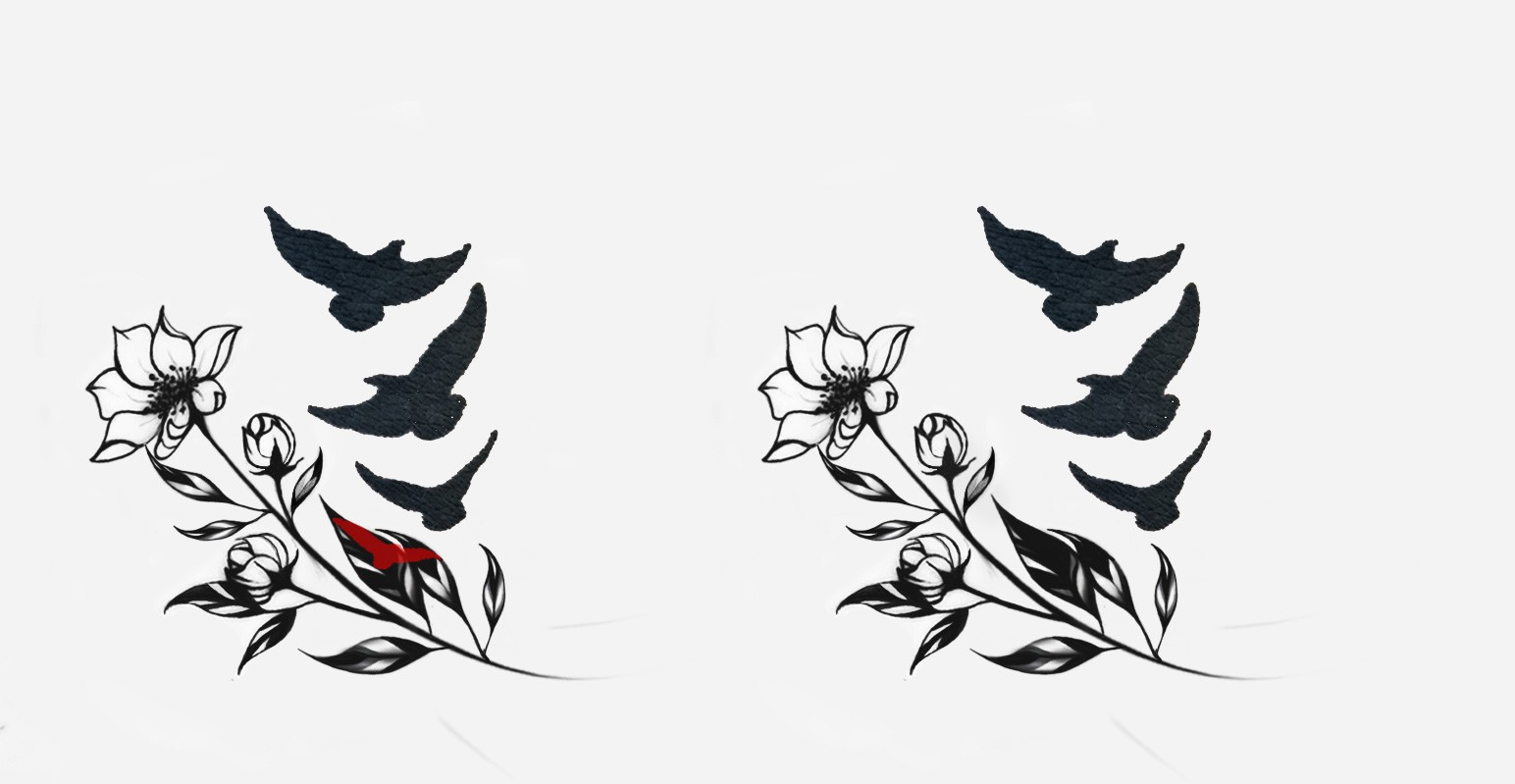 Tattoo bird and flowers