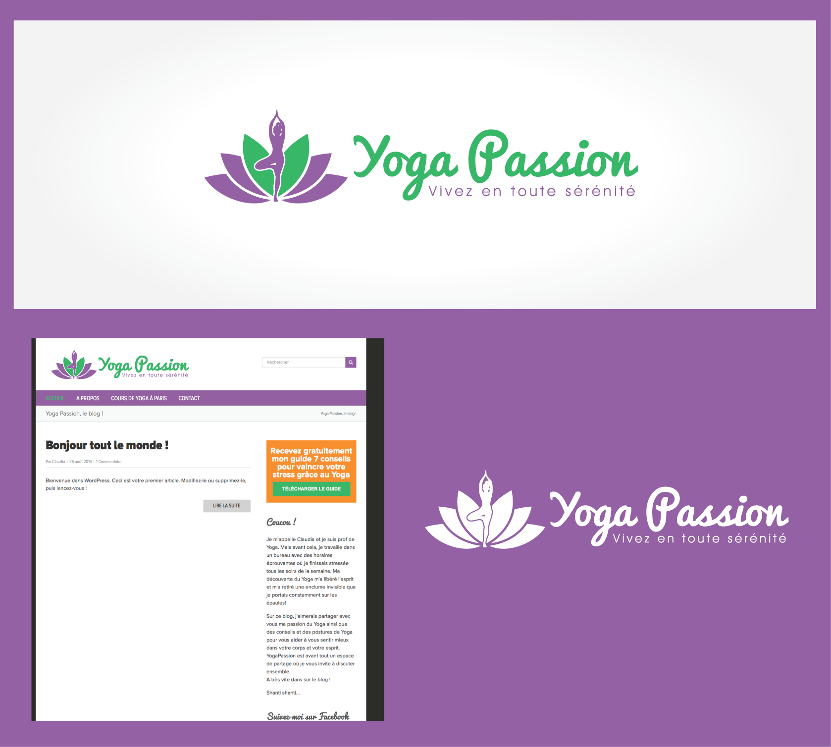 Peaceful pretty logo for a Yoga Business/blog (YogaPassion.fr)