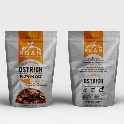 ROAM pet treats packaging