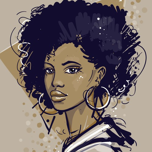 Illustration of African American girl