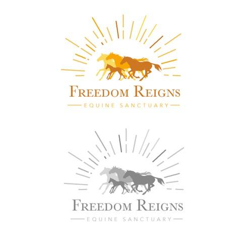 Logo design for Freedom Reigns Equine Sanctuary