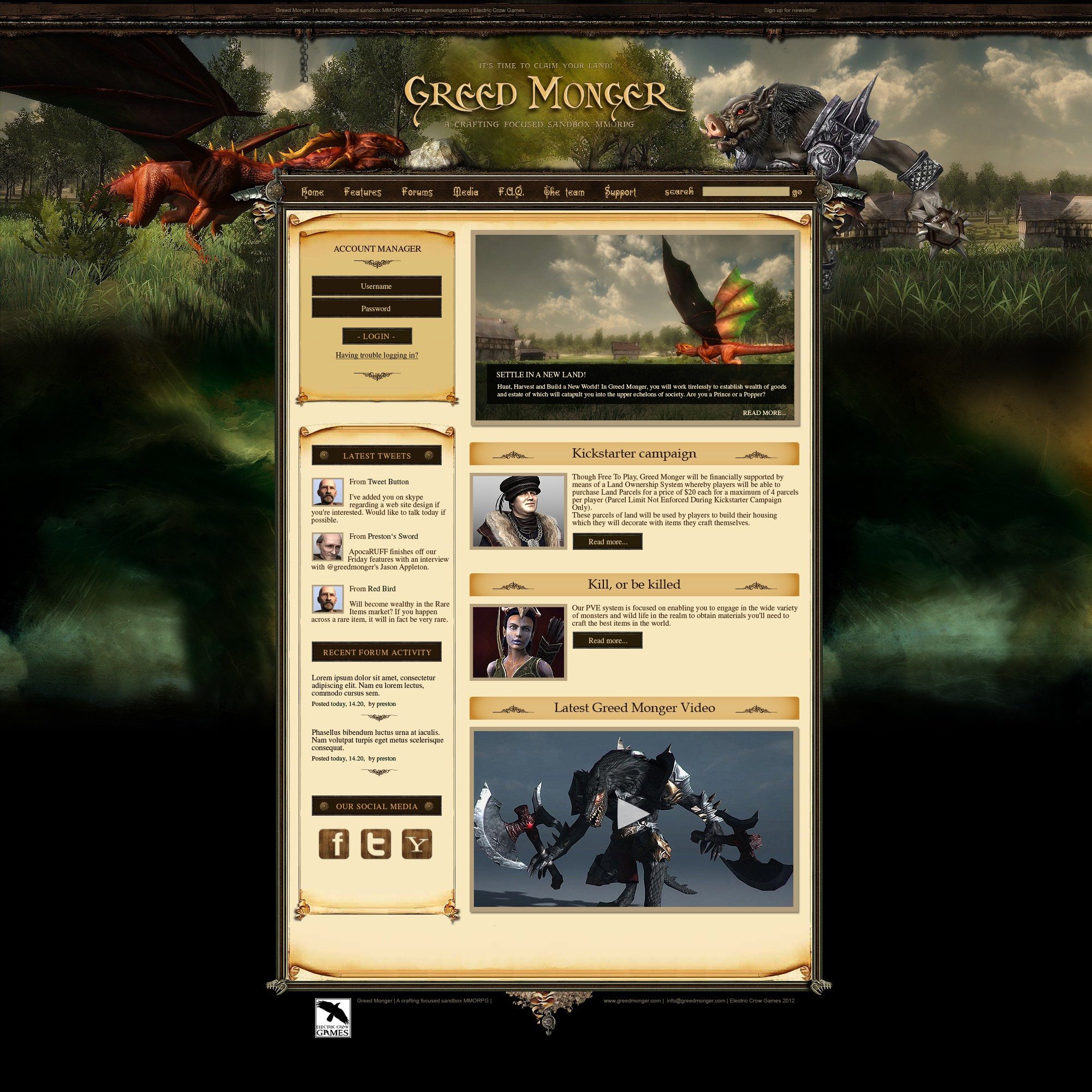 New website design wanted for Greed Monger - Sandbox MMORPG