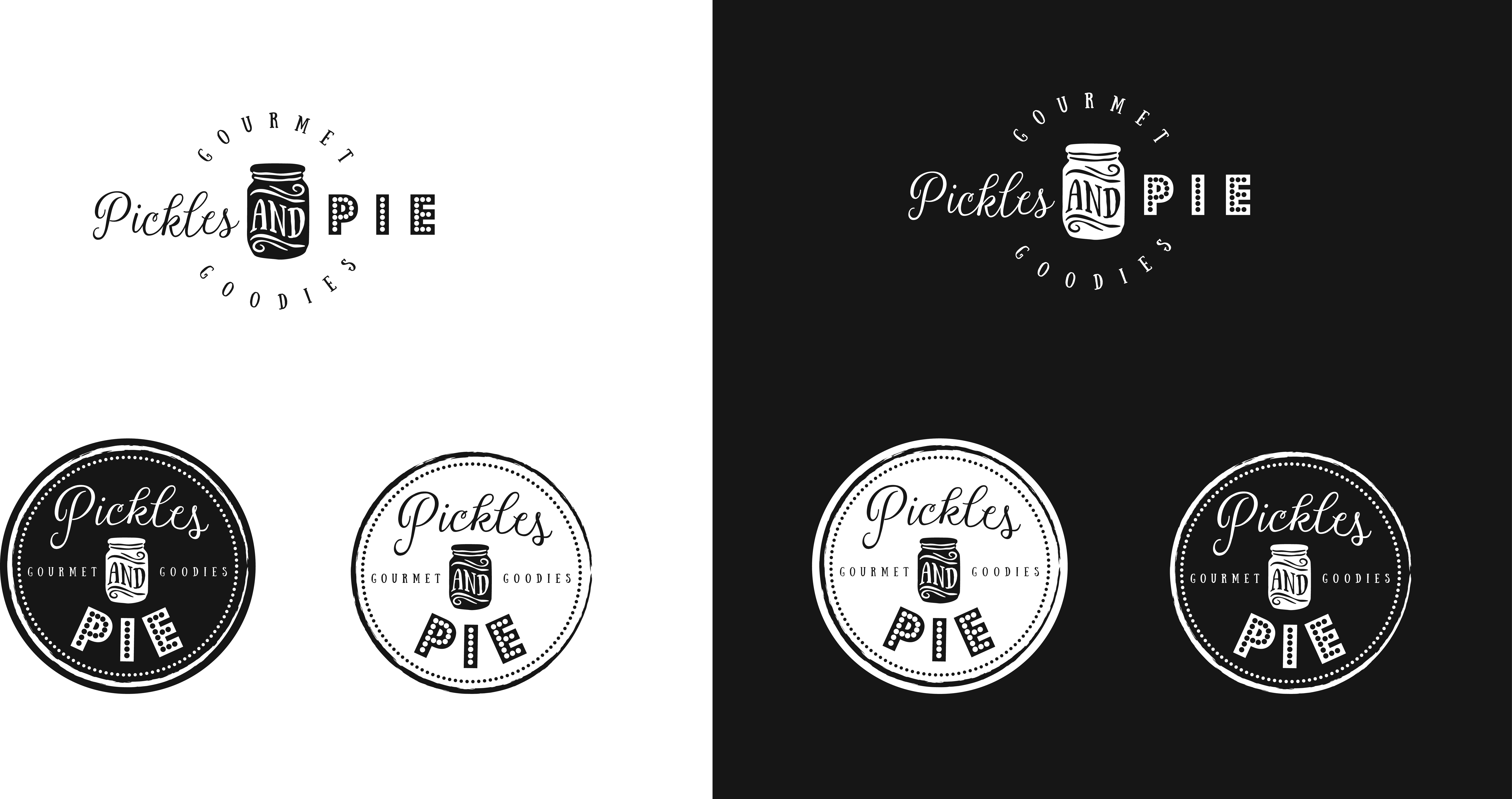 Create a unique vintage logo for gourmet Pickles and Pie