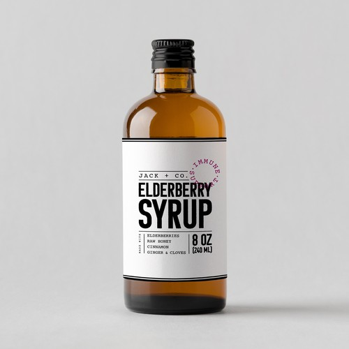 Minimal label design for syrup