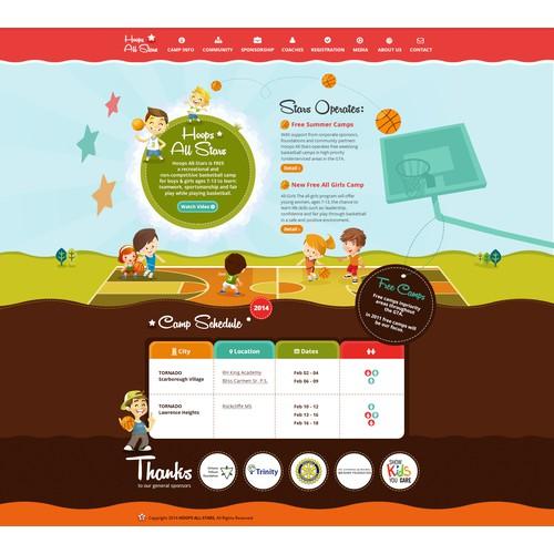 Kid friendly cartoon style website for www.hoopsallstars.com