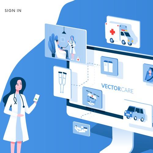 Medical landing page illustration