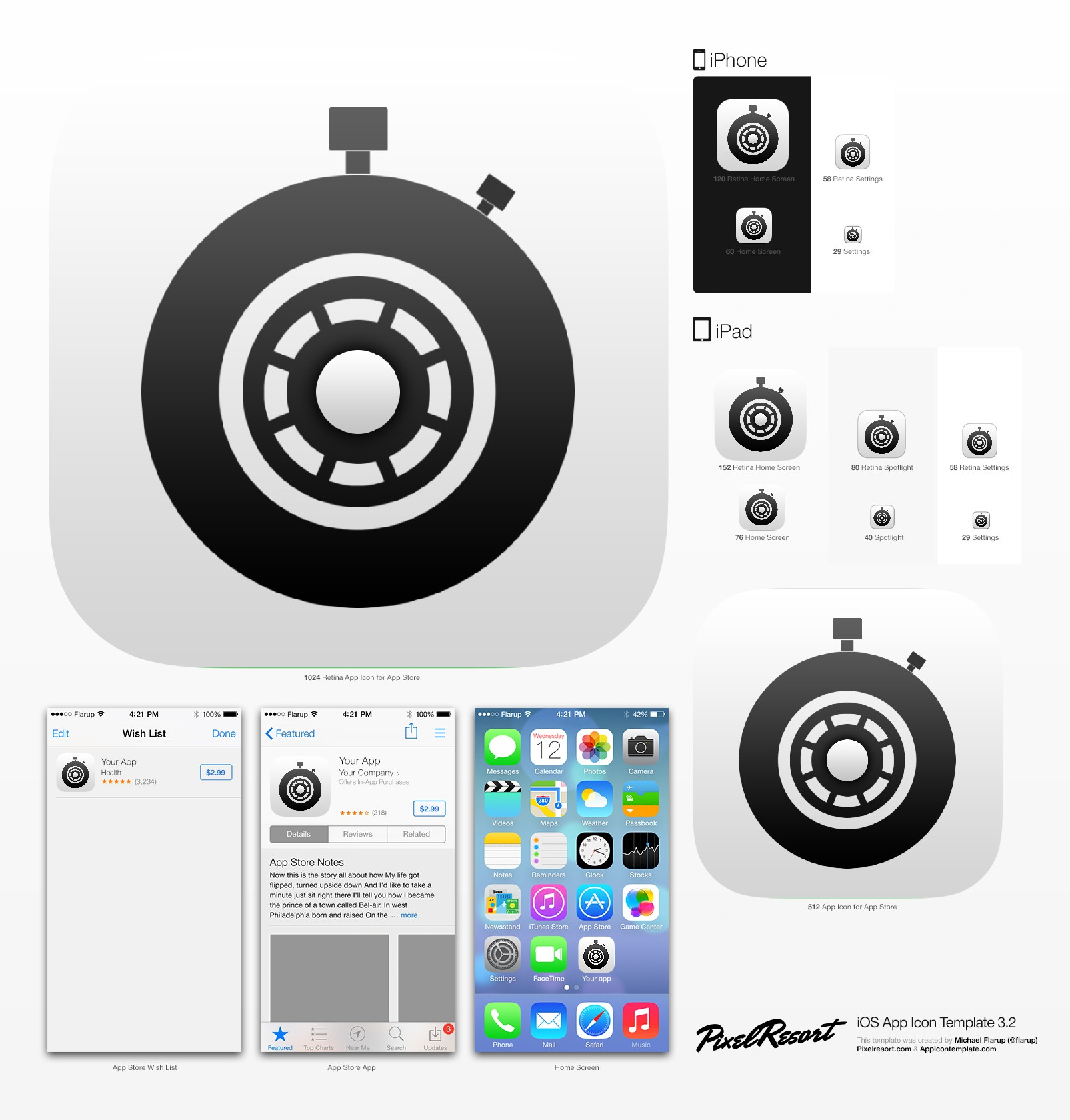 Create the icon for a new iPhone app that lets drivers analyze their routes