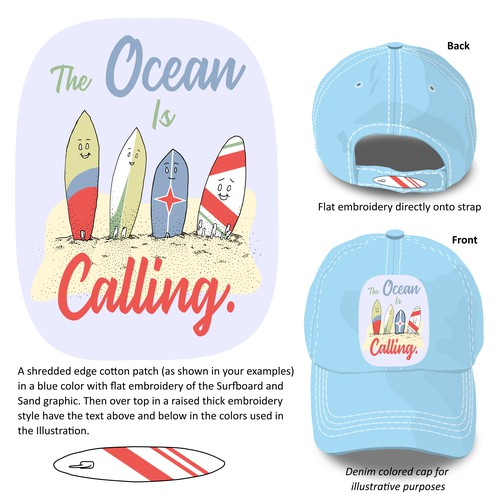 Fun Surfboard Patch for Hat Design