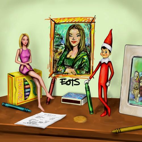 Wacky Holiday Elf Illustration
