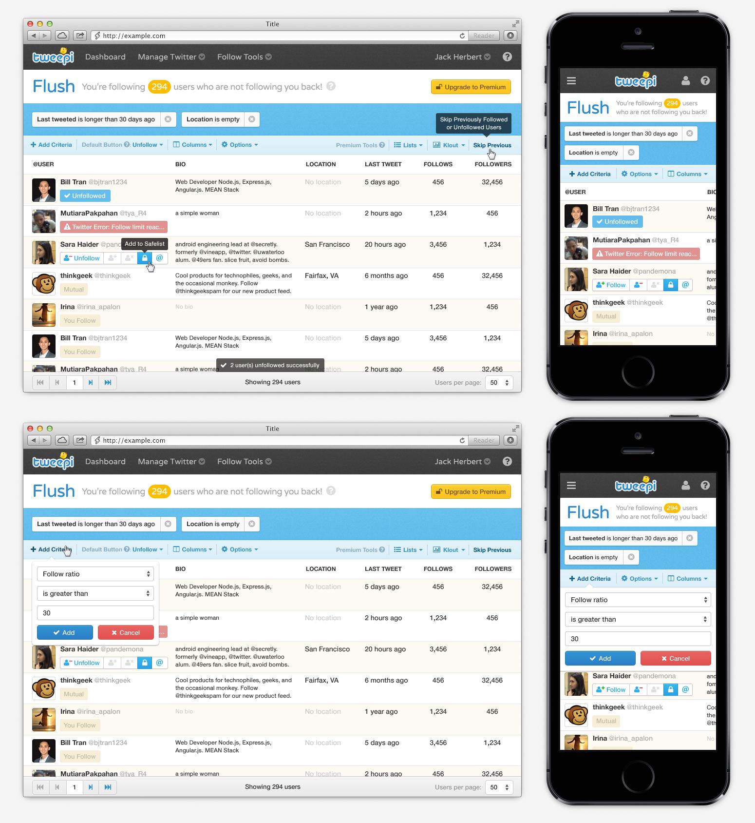 Tweepi desktop web-app: user experience and visual design