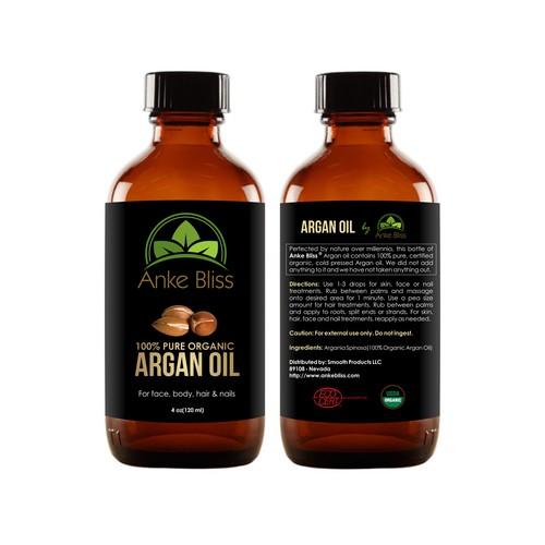 Create an eyecathing label for organic argan oil