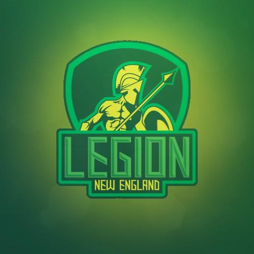 Create an aggressive sports logo for the New England Legion tournament paintball team