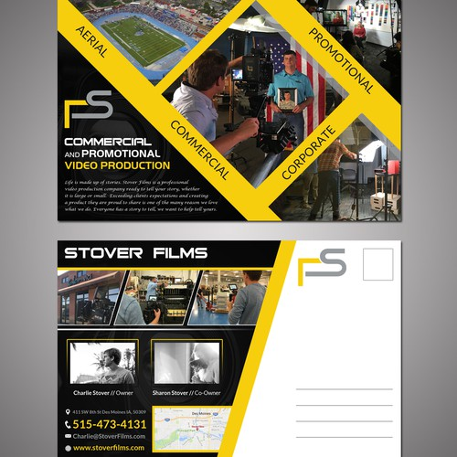Create a captivating postcard for a video production company in Des Moines Iowa.