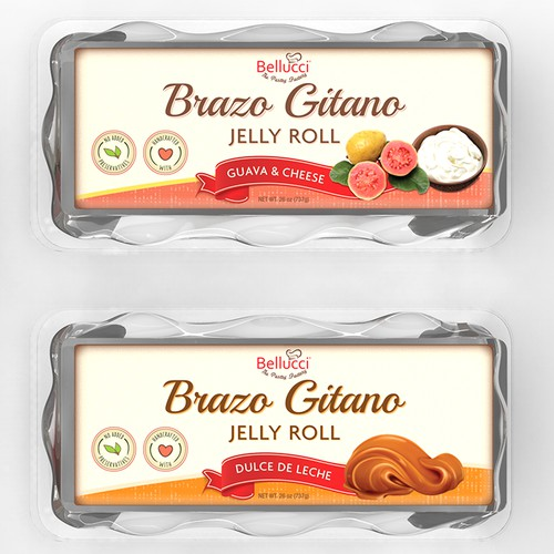Product labels for a line of desserts/pastries