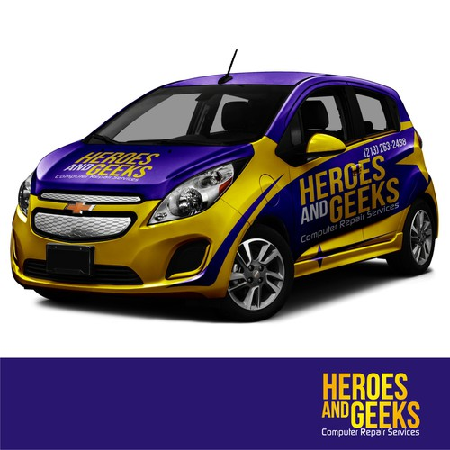 Chevrolete Spark wrap design for HEROES and GEEKS