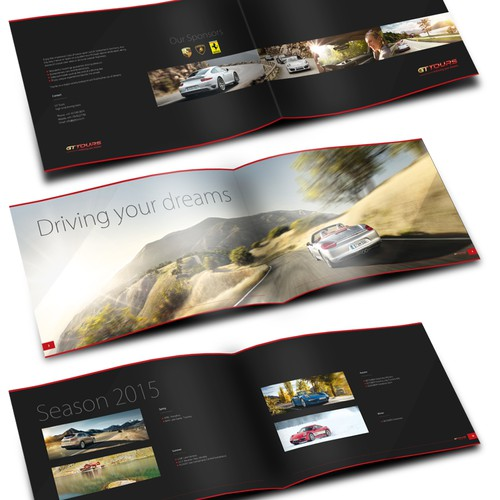 Design a luxury lifestyle car travel brochure