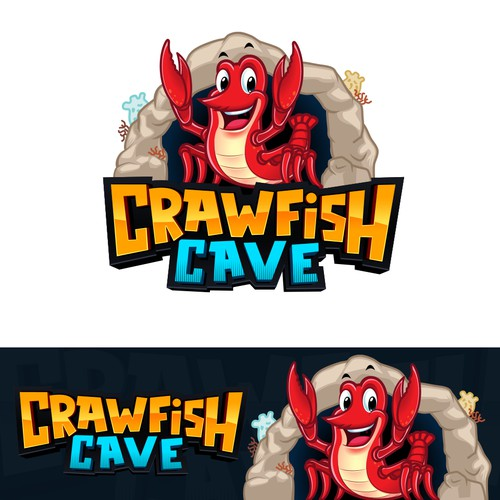 Cute and friendly cartoon crawfish/crab with a cave background for Crawfish Cave Restaurant