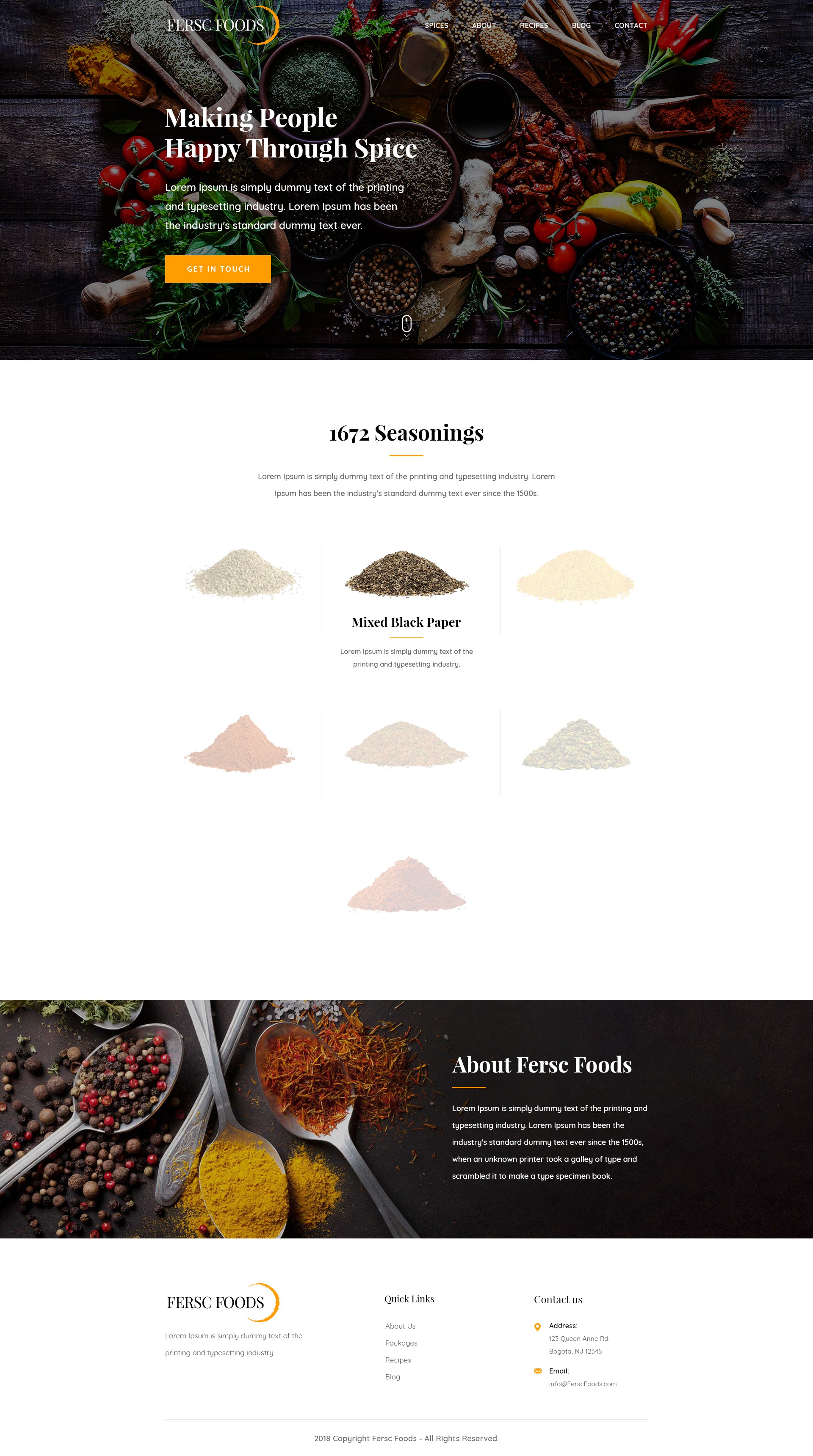 simple website for a food/seasoning company