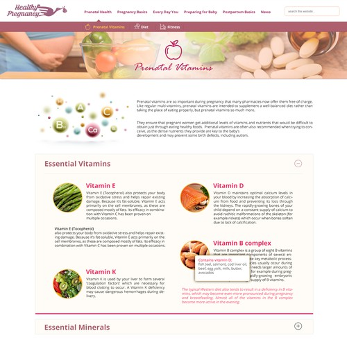 Inner page design for HealthyPregnancy blog website