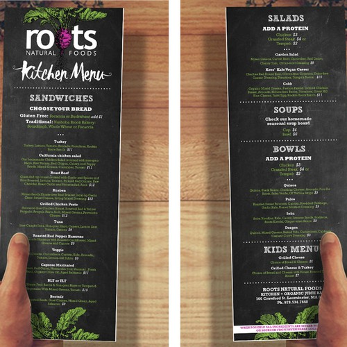 Roots Kitchen Menu Design