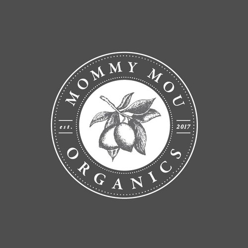 hand drawn logo for mommy mou organics