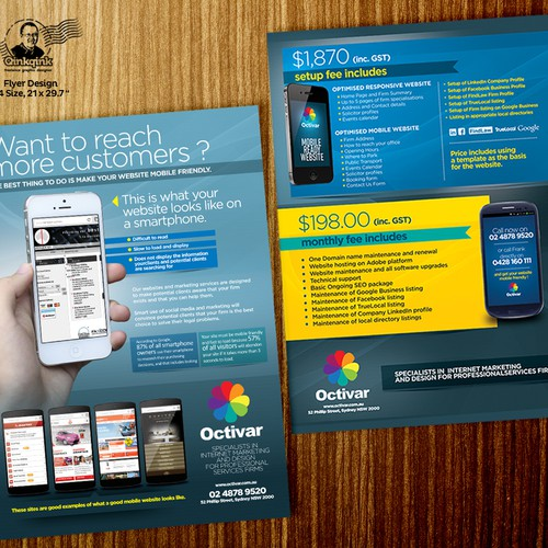 Creation of flyer for mobile website creation