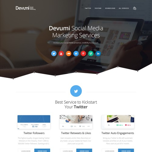 A social media marketing landing page