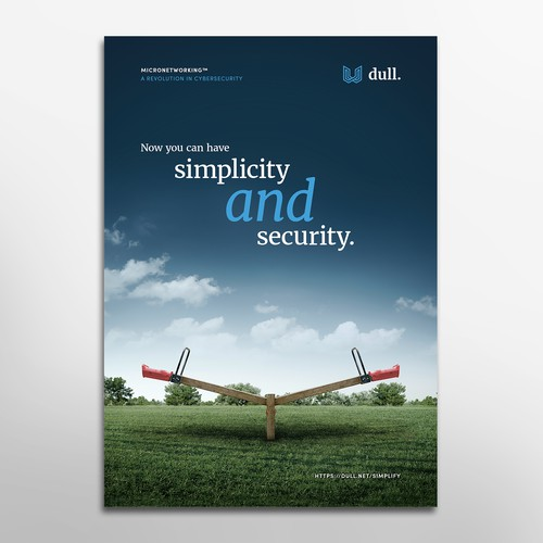A full page minimalistic ad for a cybersecurity company