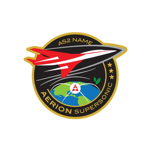 Embroidered patch design for a supersonic aircraft