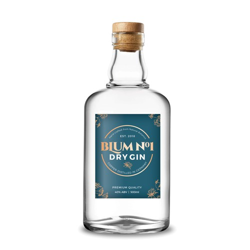 Premium label for BlumNo.1 Dry Gin.