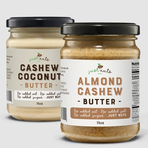 Product label for a range of natural nut butters