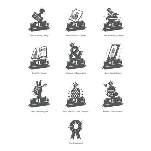 Icon set for the most prestigious awarding event of 99designs