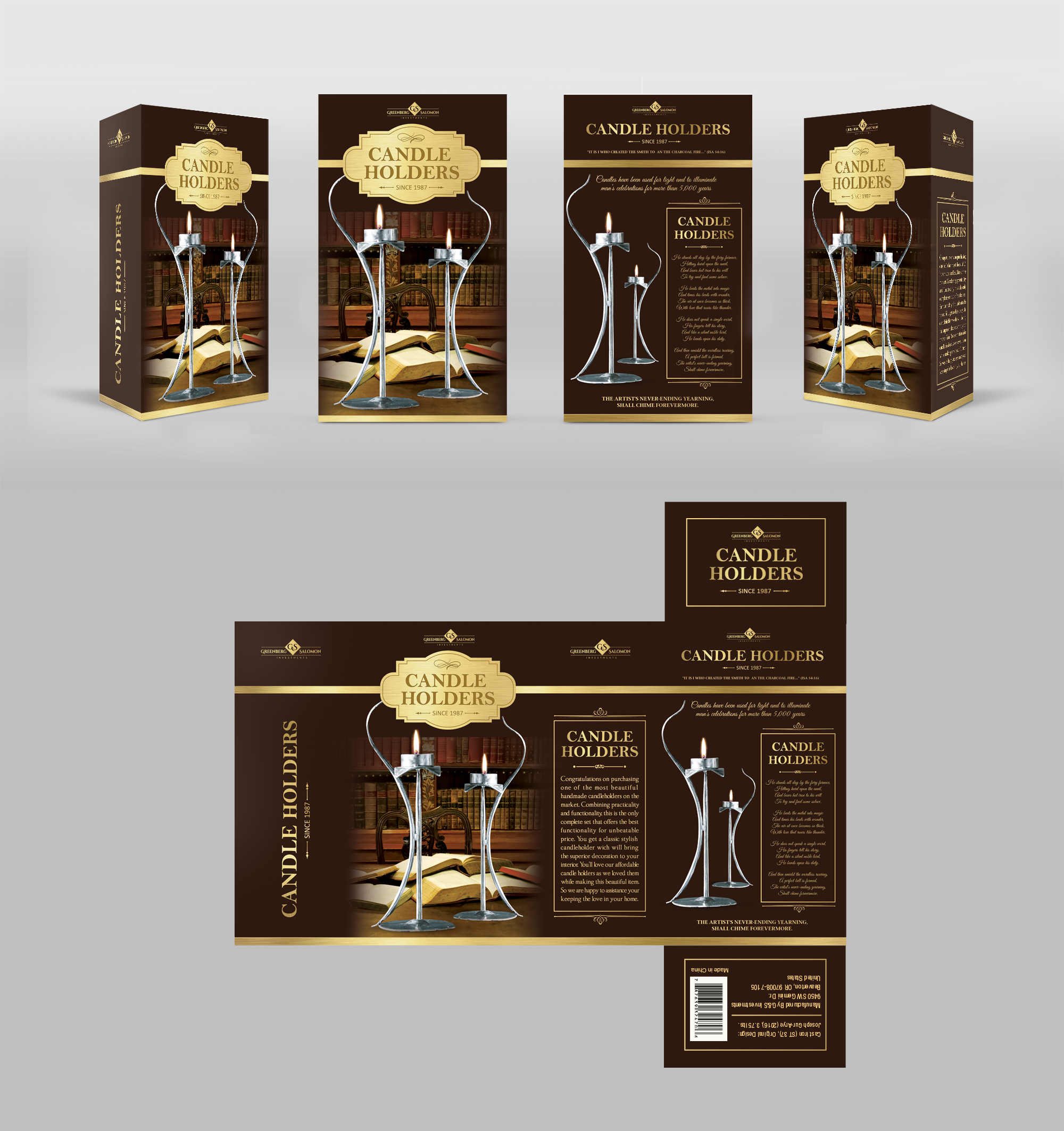 Packaging design for the candleholders set