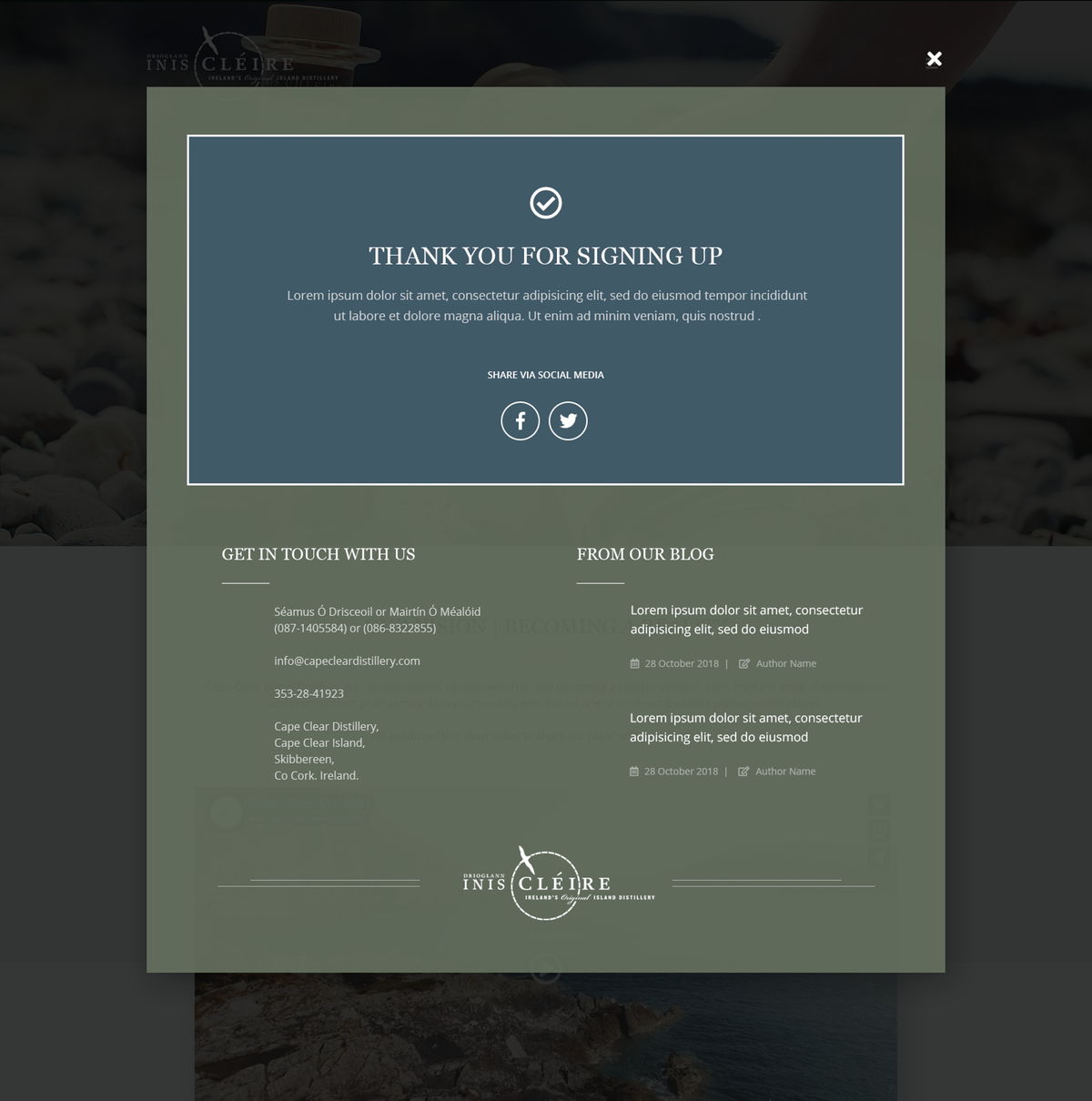 Cape Clear Distillery Landing Page