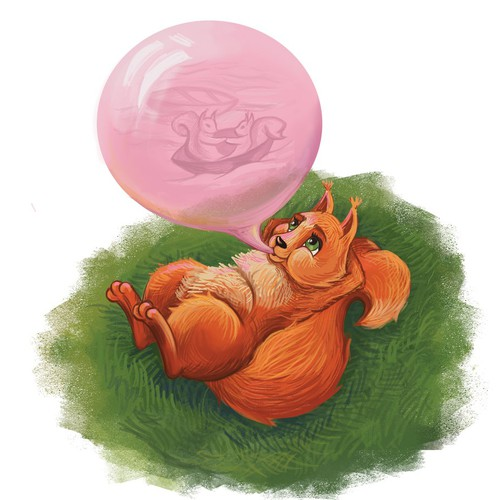 Draw a squirrel with a bubble gum dream!