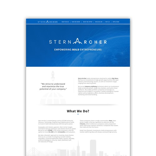 Website design for Venture Capital Firm
