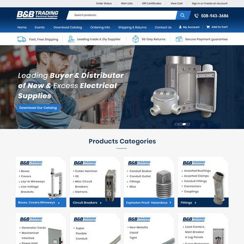 Modern Industrial E-Commerce Design for an Electrical Distributor