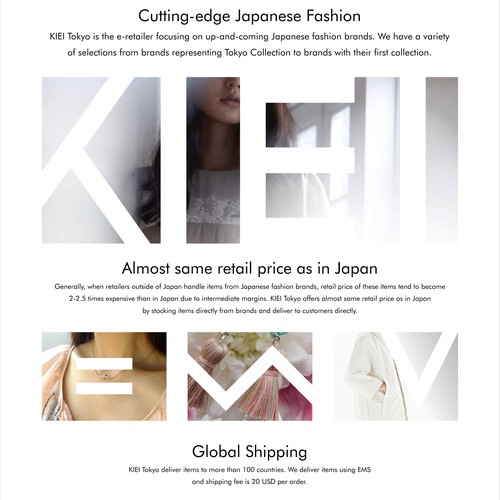 Top page design for Japanese Fashion e-commerce, KIEI Tokyo.
